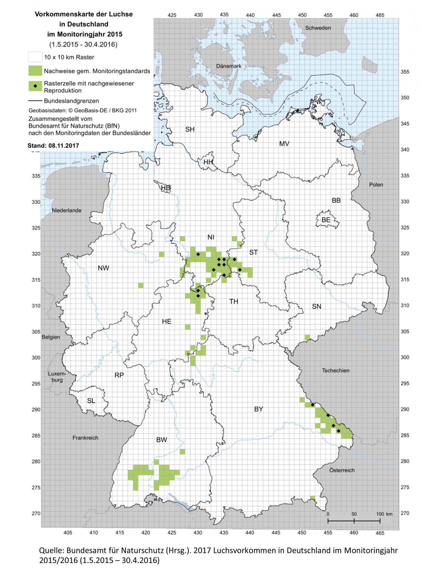 Monitoringergebnisse Luchsprojekt Harz